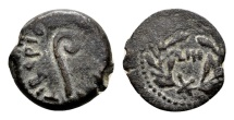 Judaea, Procurators. Pontius Pilate AD 26-36, under Tiberius AD 14-37. AE Prutah (15mm, 2.11g) dated year 18, AD 31/32