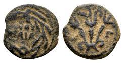 Ancient Coins - Judaea, Procurators. Valerius Gratus AD 15-26, under Tiberius AD 14-37, AE Prutah (15mm, 1.53 gram) dated regnal year 3, AD 16/17