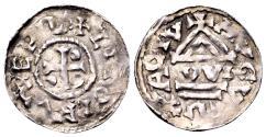 World Coins - Germany, Bavaria, Augsburg. Liutolf, bishop AD 989-996, AR Denar (21mm, 1.28 gram)