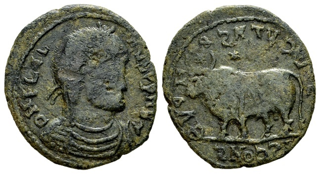 """Ancient Coins - Julian II AD 360-363, AE """"barbarous"""" imitation (24mm, 6.46 g) of an Arelate (?) mint """"bull"""" prototype"""