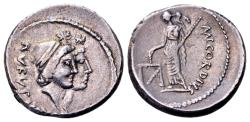 Ancient Coins - Roman Republic. Mn. Cordius Rufus, AR Denarius (17mm, 3.89 gram) Rome 46 BC
