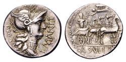 Ancient Coins - Roman Republic. L. Cornelius Sulla and L. Manlius Torquatus, AR Denarius (16mm, 3.90 g) Rome 82 BC