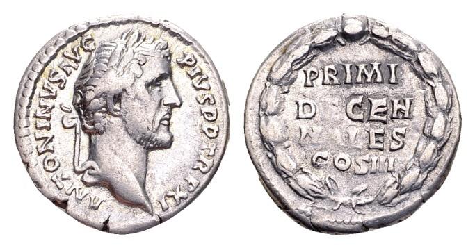Ancient Coins - Antoninus Pius 138-161, AR Denarius (18mm, 2.96 gram) Rome 147/48