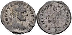Ancient Coins - Constantius Caesar AD 293-305, AE silvered Follis (27mm, 10.57 gram) Lugdunum c. AD 298