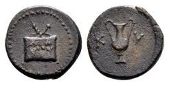 Ancient Coins - Aeaolis, Kyme. AE Dichalkon (15mm, 3.33 gram) 1st century BC