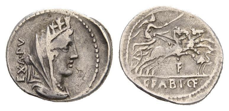 Ancient Coins - Roman Republic. C. Fabius, moneyer, AR Denarius Rome (21mm, 3.75g) 102 BC