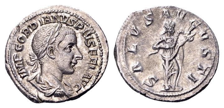 Ancient Coins - Gordian III AD 238-244, AR Denarius (20 mm, 2.69 gram) Rome AD 241