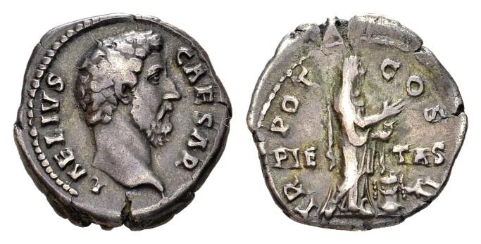 Ancient Coins - Aelius Caesar AD 136-138, AR Denarius (18mm, 3.10 g) Rome