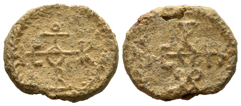 Ancient Coins - Uncertain. Byzantine lead seal c. 6th-7th century AD