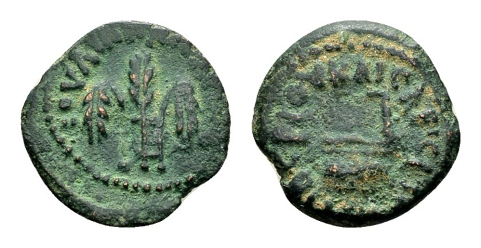 Ancient Coins - Judaea, Procurators. Pontius Pilate AD 26-36, under Tiberius AD 14-37, AE Prutah (15mm, 1.38 g) dated year 16, AD 29/30