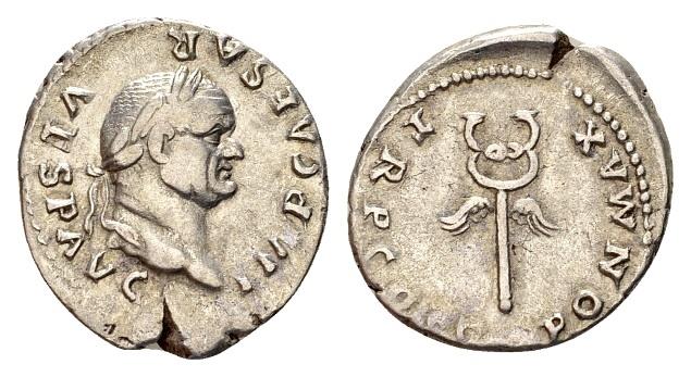 Ancient Coins - Vespasian AD 69-79, AR Denarius (19mm, 3.41 g) Rome AD 74