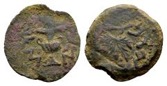Ancient Coins - Judaea, Jewish War AD 66-70, AE Prutah (18mm, 3.07 gram) dated Year 3, AD 68-69