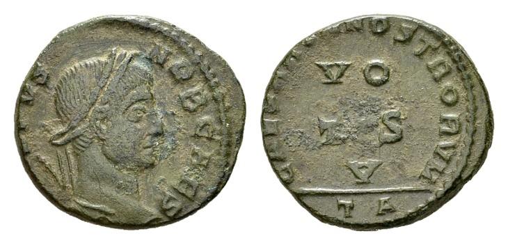 Ancient Coins - Crispus Caesar AD 317-326, AE Follis (18mm, 2.85 g) Arelate AD 320
