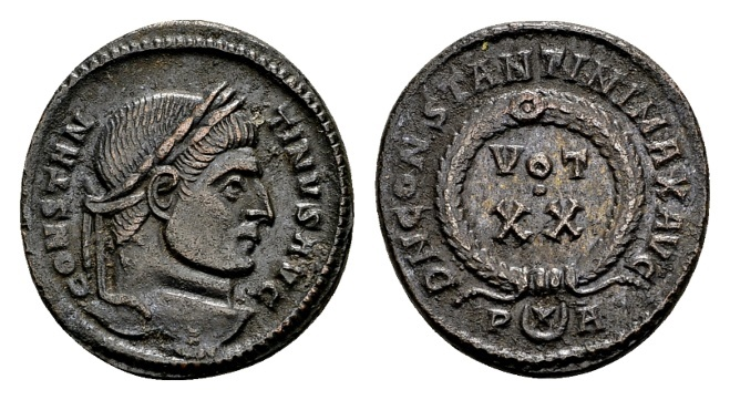 Ancient Coins - Constantine the Great AD 307-337, AE Follis Arelate 321 / Ex Lückger