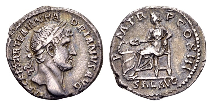 Ancient Coins - Hadrian AD 117-138, AR Denarius (19mm, 3.21 g) Rome AD 119-122
