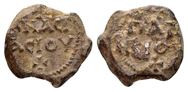 Ancient Coins - Anastasios, patrikios. Byzantine lead seal c. 7th century AD
