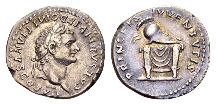 Ancient Coins - Domitian Caesar AD 69-81, AR Denarius (19mm, 2.97g) Rome AD 80-81