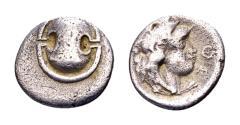 Ancient Coins - Boiotia, Thebes. AR Obol (11mm, 0.77 gram) circa 363-348 BC Theo-, magistrate