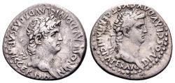 Ancient Coins - Cappadocia, Caesarea. Nero AD 54-68, with Divus Claudius. AR Didrachm (22mm, 6.77 gram)