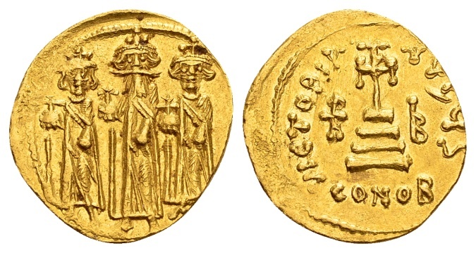 Ancient Coins - Heraclius AD 610-641, with Heraclius Constantine and Heraclonas, Gold Solidus (19mm, 4.46g) Constantinopolis