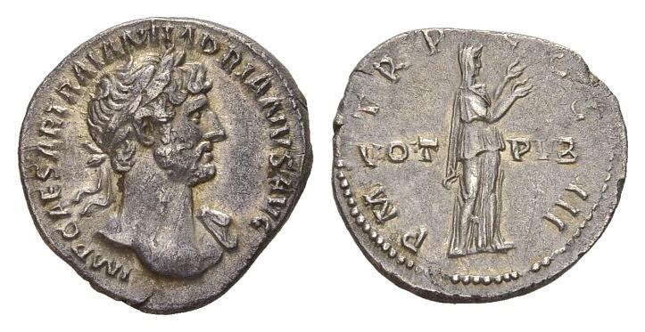 Ancient Coins - Hadrian AD 117-138, AR Denarius (19mm, 3.05g) Rome