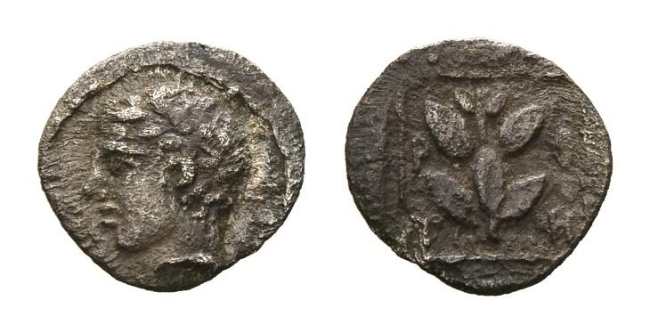 Ancient Coins - Thrace, Trieros. AR Hemiobol (9mm, 0.27g) circa 450-420 BC