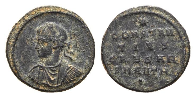 Ancient Coins - Constantius II Caesar AD 324-337, AE Follis (1.81g, 18mm) Antioch AD 324-25