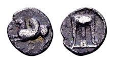 Ancient Coins - Bruttium, Kroton. AR Triobol (11mm, 1.18 gram) circa 480-430 BC