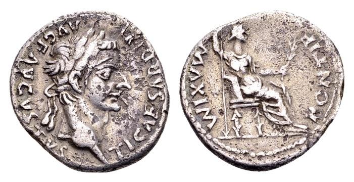 Ancient Coins - Tiberius 14-37, AR Denarius (18mm, 3.61 gram) Lugdunum
