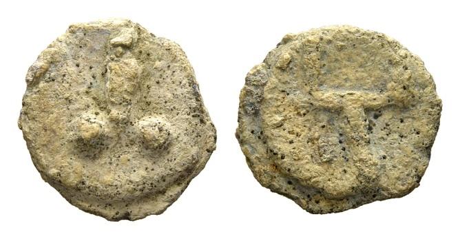 Ancient Coins - Rome. Lead tessera c. 1st century AD / Phallus and Pitchfork
