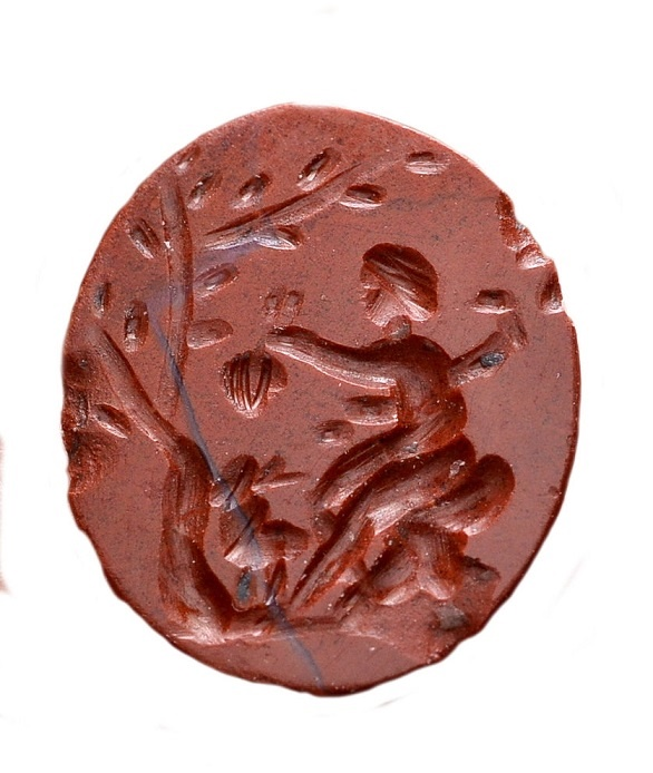 Ancient Coins - Roman intaglio gem. Red jasper c. 1st century AD