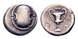 Ancient Coins - Boiotia, Boiotian League. Federal coinage. AR Hemidrachm or Triobol (13mm, 2.65 gram) c. 338-315