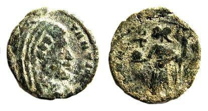 Ancient Coins - Extremely rare Divus Constantine the Great 307-337 AD / Aeterna Pietas Lugdunum mint, with christogram