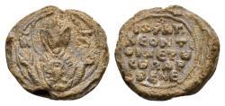 Ancient Coins - Leon. Byzantine lead seal (19mm, 5.63 gram) last third 11th century