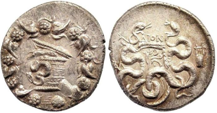 Ancient Coins - Lydia, Tralles. AR Cistophoric Tetradrachm (12.50g; 27.5mm) Struck after 133 BC