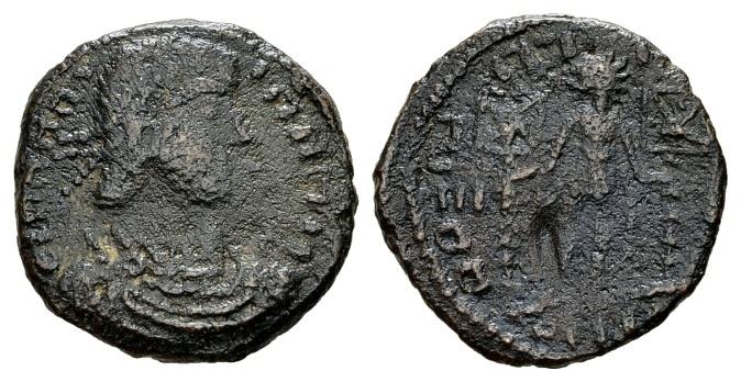 """Ancient Coins - Constantius II AD 337-361, AE """"barbarous"""" imitation (20mm, 3.95 g) of a """"Concordia Militum"""" prototype"""