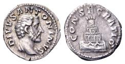 Ancient Coins - Divus Antoninus Pius, AR Denarius (18mm, 3.49 gram) struck after his death by Marcus Aurelius 161-180 AD