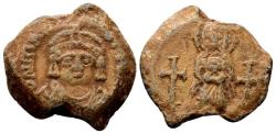Ancient Coins - Maurice Tiberius AD 582-602. Byzantine lead imperial seal (21 mm, 9.58 gram)