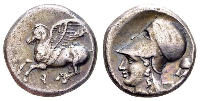Ancient Coins - Corinthia, Corinth. AR Stater (19mm, 8.36 g) circa 375-300 BC / graffito TPIΔAΣ