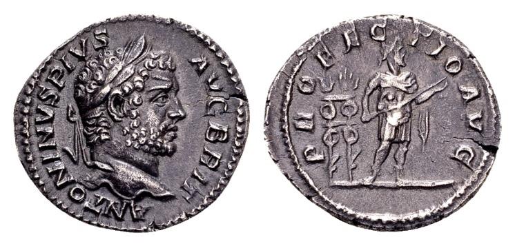 Ancient Coins - Caracalla AD 198-217, AR Denarius (19mm, 2.93 g) Rome