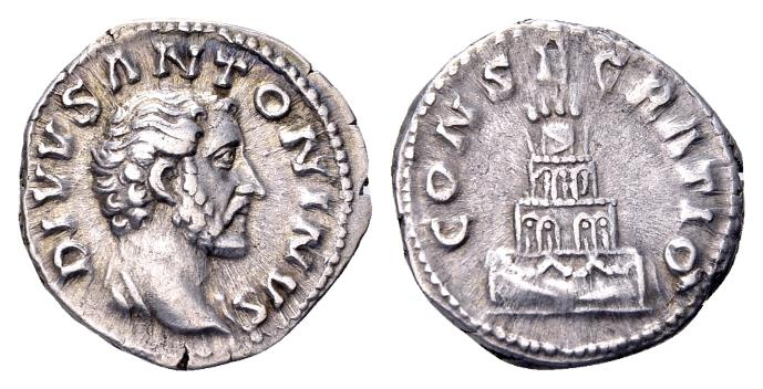 Ancient Coins - Divus Antoninus Pius, AR Denarius (18mm, 3.49 gram) struck after his death by Marcus Aurelius 161-180 AD