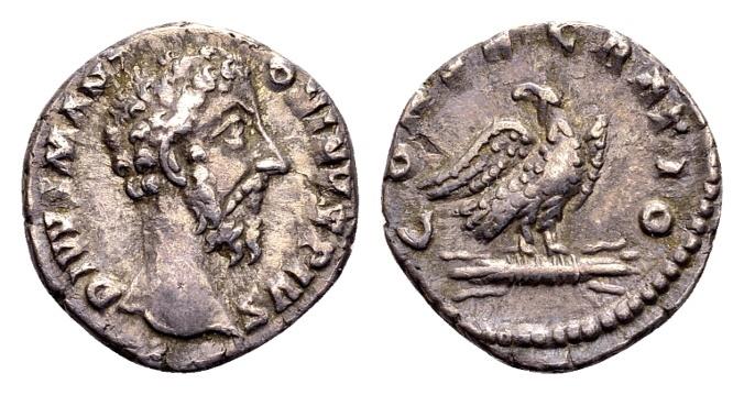 Ancient Coins - Divus Marcus Aurelius AD 161-180, AR Denarius (17mm, 3.33g) Rome