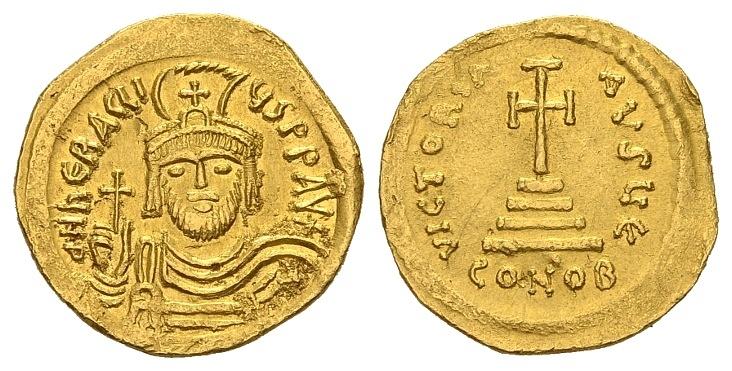 Ancient Coins - Heraclius AD 610-641, Gold Solidus (4.29g; 21mm) Constantinopolis