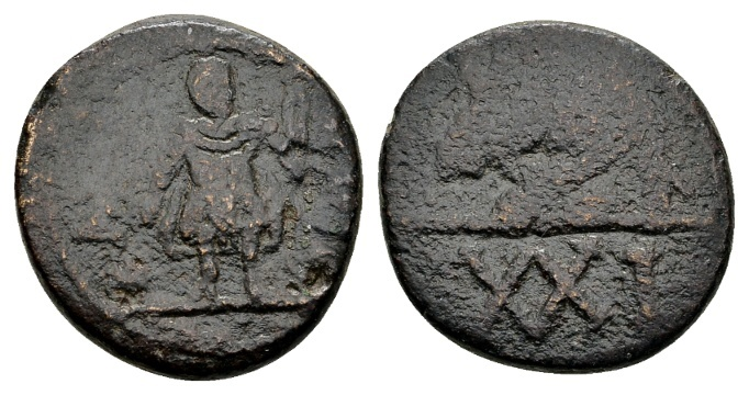 World Coins - Vandals in North-Africa. Gelimer AD 530-534 AE ½ Follis (19mm, 6.55g) Carthage
