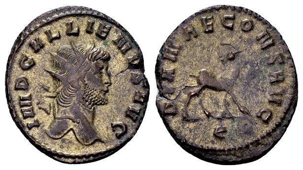 Ancient Coins - Gallienus AD 253-268, AE silvered Antoninianus (20mm, 4.31 gram) Rome
