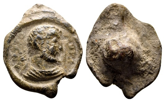 Ancient Coins - Antiochus. Roman lead seal c. late 3rd-4th century AD