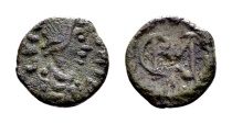 Vandals in North Africa. Gelimer AD 530-534, AE 2 ½ Nummi (9mm, 0.80 gram) Carthage
