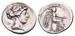 Ancient Coins - Roman Republic. M. Porcius Cato, AR Denarius (19mm, 3.85 gram) Rome 89 BC