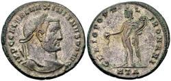 Ancient Coins - Galerius AD 305-311, AE silvered Follis (27mm, 10.76 gram) Heraclea 305-06
