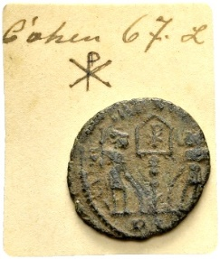 Ancient Coins - Constans AD 337-350, AE Follis Lugdunum / Christogram / Ex Lückger